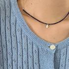 Coin Pendant Bead Necklace Blue - One Size