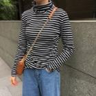 Striped Slim-fit Turtle-neck Long-sleeve T-shirt