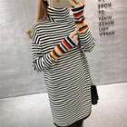 Turtleneck Contrast Striped Long Sweater