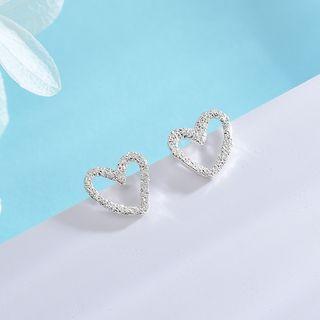 925 Sterling Silver Heart Earring 1 Pair - Earring - One Size