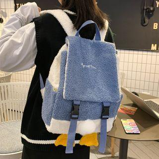 Faux Shearling Buckled Flap Backpack