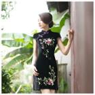 Embroidered Flower Short Cheongsam