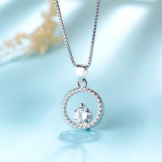 925 Sterling Silver Rhinestone Pendant Necklace Without Necklace - Pendant - One Size