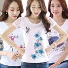 Short-sleeve Lace Panel Top (various Designs)