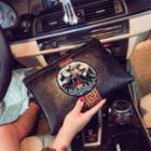 Couple Matching Embroidered Panel Clutch Black - One Size