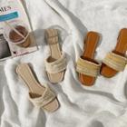 Fringed Rattan Slide Sandals