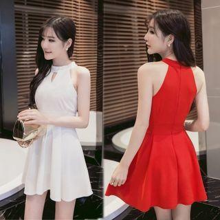 Plain Halter Sleeveless A-line Dress