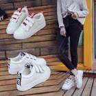 Letter Fleece-lined Velcro Sneakers