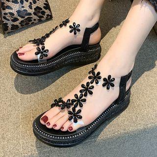 Platform Embellished Slingback Sandals