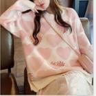 Heart Print Faux Pearl Sweater