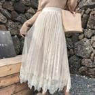 Lace Overlay Midi Velvet Skirt