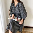 Half-placket Plaid Shirtdress With Cord