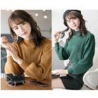 Lantern-sleeve Mock Neck Sweater