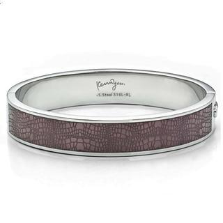 Leather Pattern Sculp Bangle(m) Brown - One Size