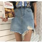 Fray Asymmetric Denim Skirt