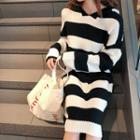 Hood Striped Midi Cable Knit Dress