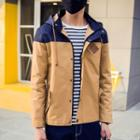 Denim Panel Hooded Jacket
