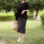 Polka-dot Crinkled Midi Skirt