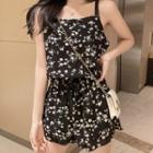 Floral Chiffon Strappy Playsuit Black - One Size