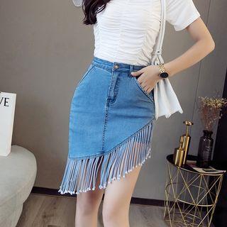 High-waist Fringed Denim Skirt