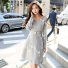 Long-sleeve Jacquard Tweed Dress