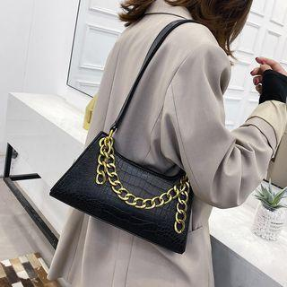 Croc Grain Chained Hand Bag