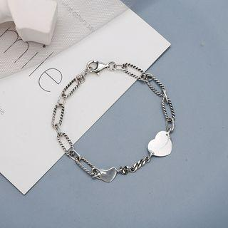 925 Sterling Silver Heart Bracelet Brs156 - One Size
