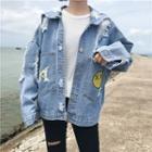 Embroidered Smiley Denim Jacket