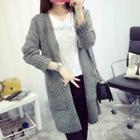 Open Front Chunky Knit Long Cardigan