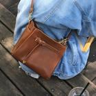Faux Leather Crossbody Bag Chocolate - One Size