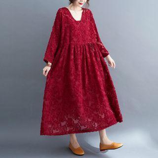 Set: Drawstring-waist Long-sleeve Midi A-line Dress + Slipdress