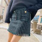 Patched-detail Tweed Miniskirt