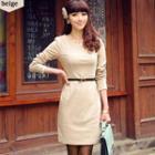Long-sleeve Belted Dress