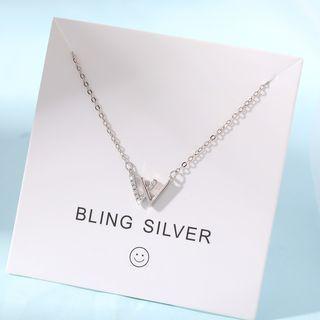 W-letter Pendant Bracelet 1 Pc - Rhinestone & Letter W - Silver - One Size
