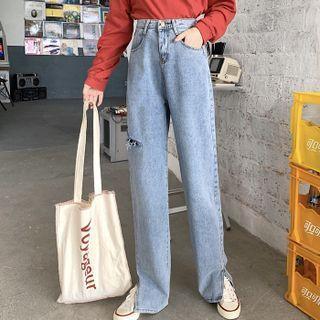 Distressed Slit Straight Leg Jeans