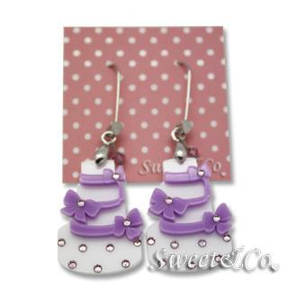 Sweet Purple Dolly Cake Swarovski Dangle Earrings Purple - One Size