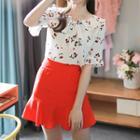 Button-front Ruffle-hem Mini Skirt