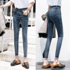 Cropped Frayed Skinny Jeans