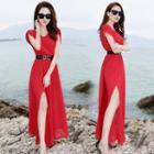 Sleeveless Slit Maxi Chiffon Dress