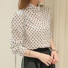 Polka Dot Stand Collar Shirt