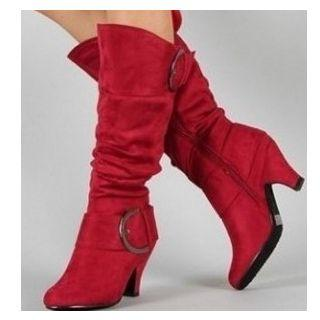 Faux Suede Ruched Kitten Heel Tall Boots