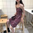 Spaghetti Strap Floral A-line Knit Dress As Shown In Figure - One Size
