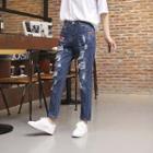 Appliqu  Distressed Straight Leg Jeans