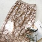 Convertible Laced Knit Skirt Beige - One Size