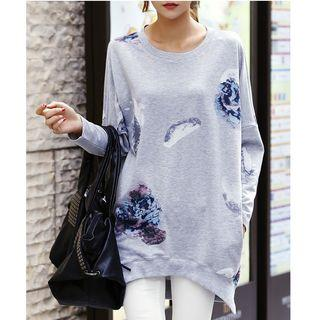 Floral Print Long Sleeve Pullover