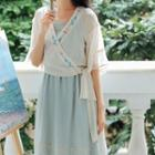 Flower Embroidered Elbow-sleeve Chiffon Blouse