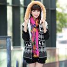 Furry Trim Hooded Snowflake Pattern Cardigan
