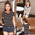 Striped V-neck Short-sleeve Knit Top