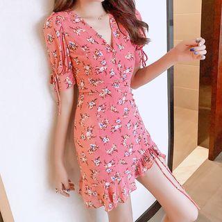 Drawstring Drawstring Floral Dress Pink - One Size