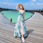 Print Strap Chiffon Dress